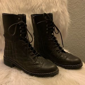 Vince Camuto Gray Leather Quilted Combat Boot